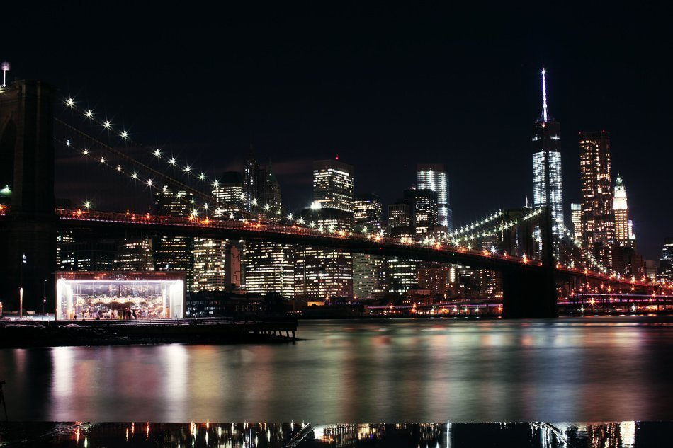Downtown New York City Manhattan from Brooklyn Bridge Park