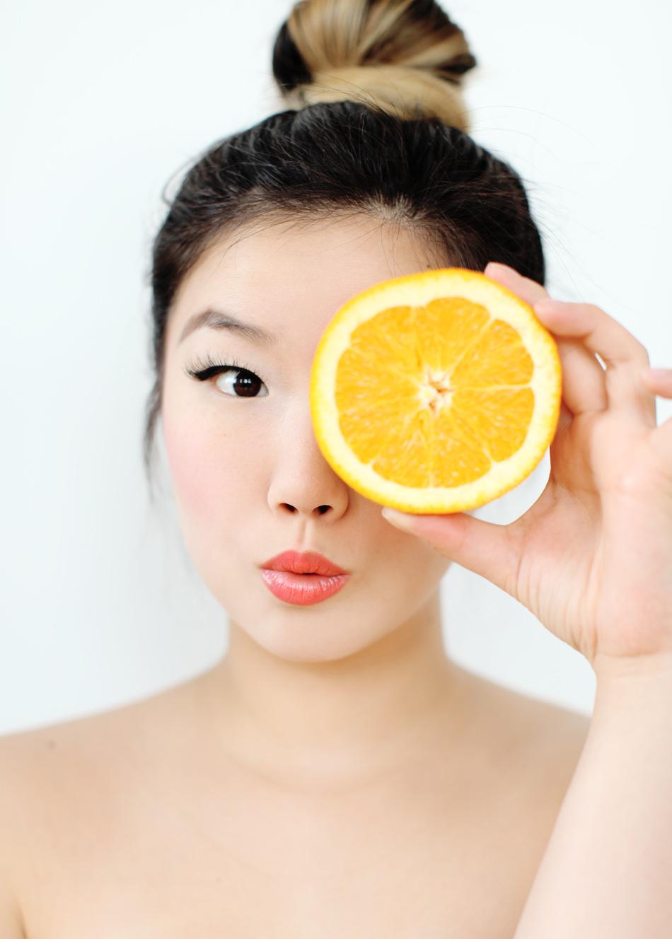 jinna_yang_orange_fruit_makeup_beauty_hair_bun