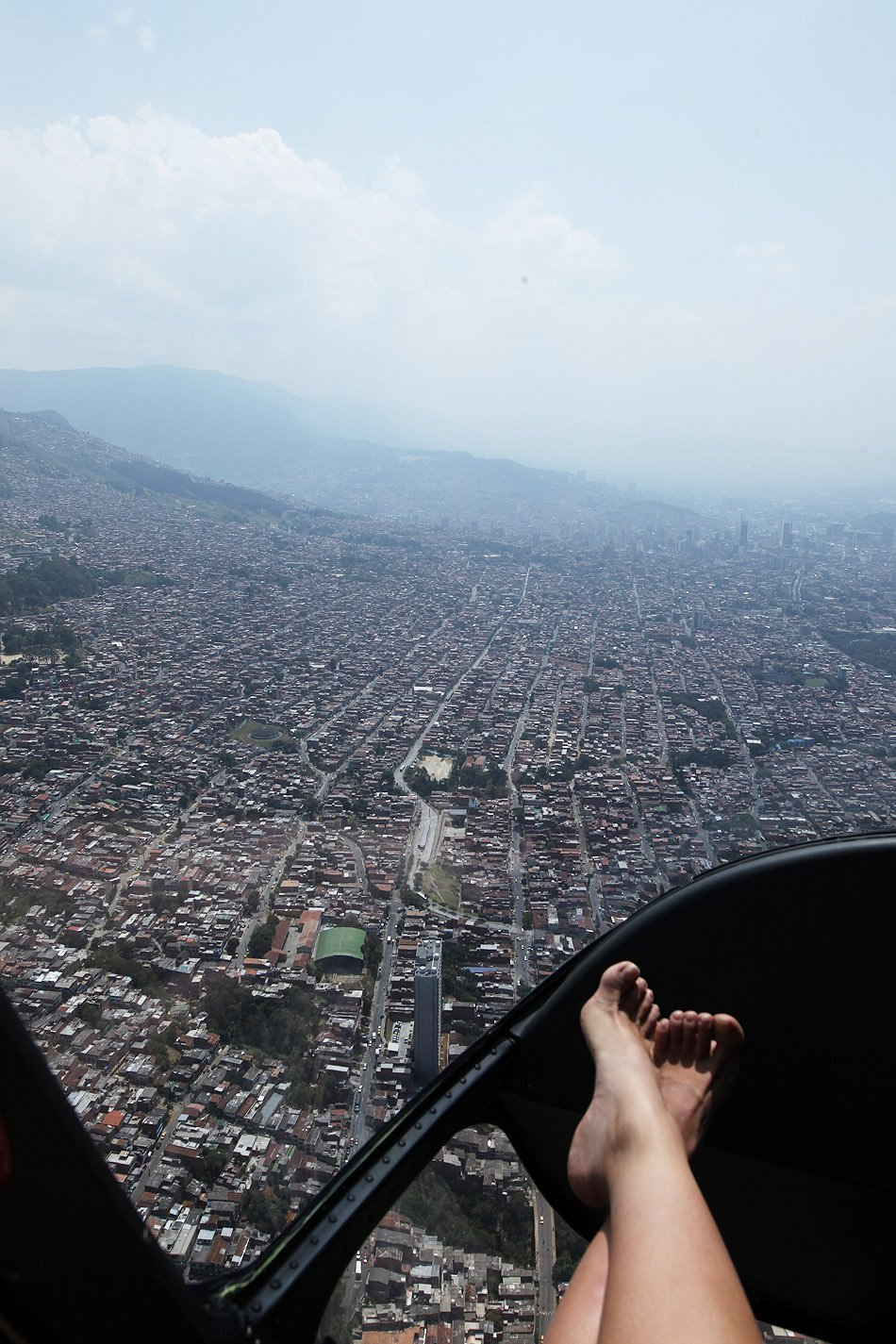 flying over medellin colombia