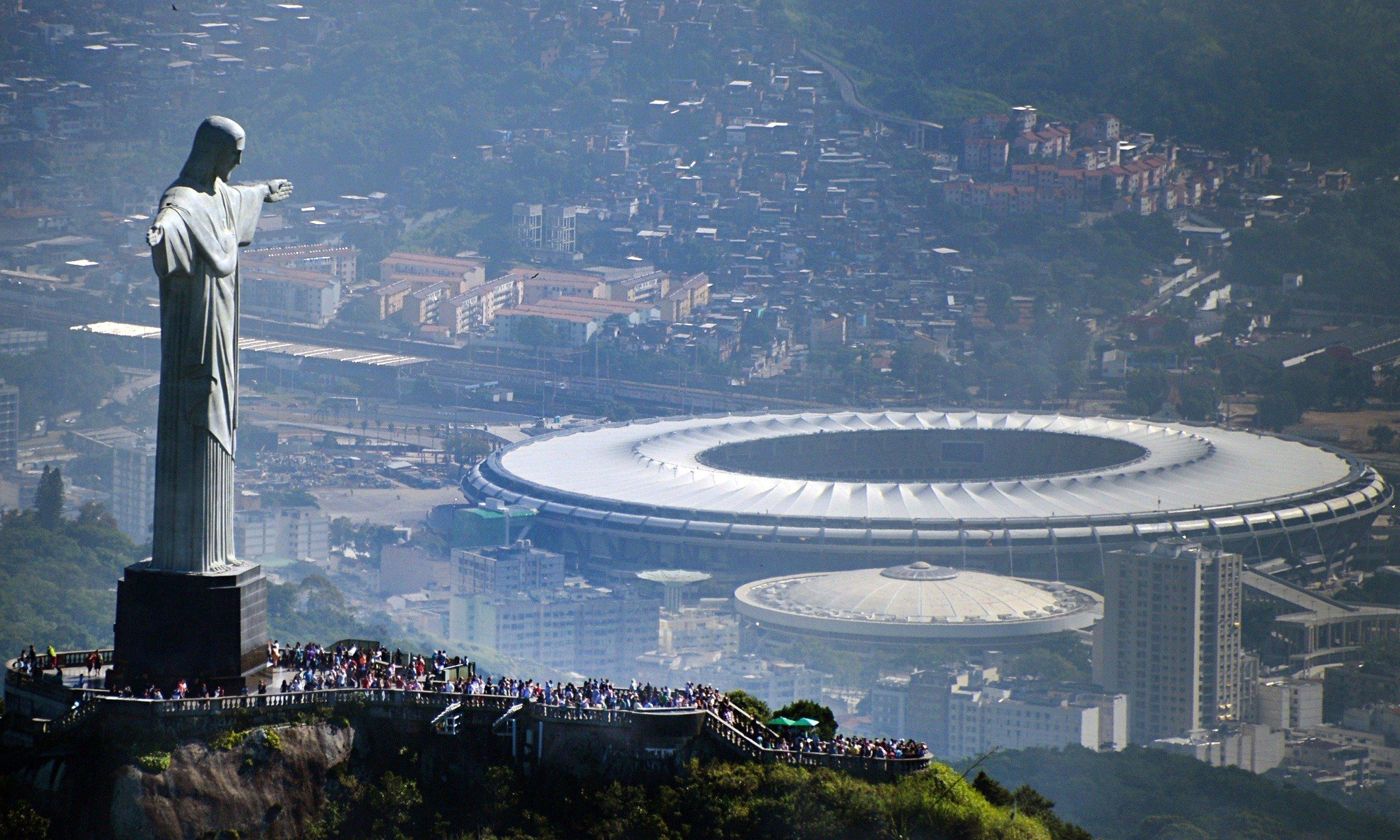 The Christ the Redeemer statue overlooking Rio and the Maracana stadium
